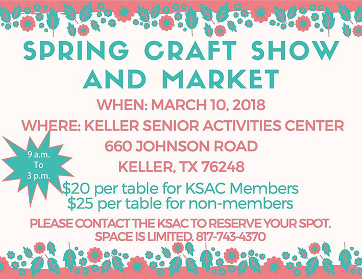 Promotional flier for the KSAC Spring Craft Fair 2018