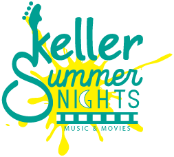 Blue and yellow logo for Keller Summer Nights