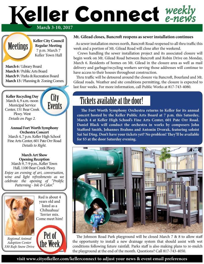 Keller News   City of Keller, TX