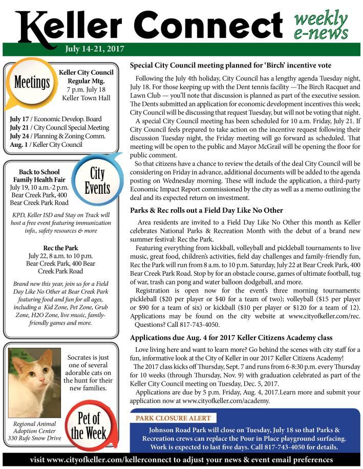 News Release | City of Keller, TX