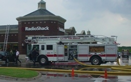 Quint 582 at Radio Shack fire